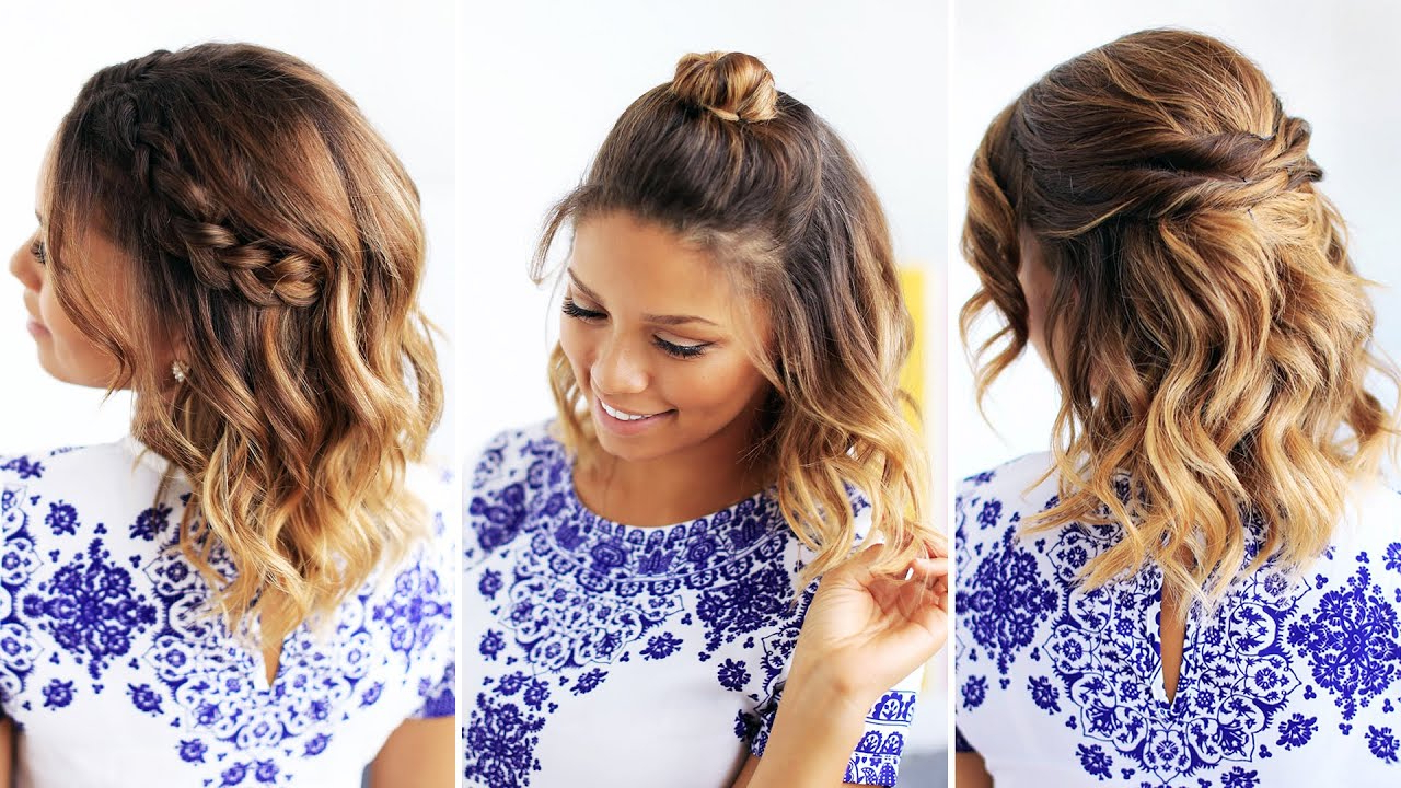3 Easy Hairstyles For Short Hair – Youtube Pertaining To Cute Hairstyles For Girls With Short Hair (View 2 of 25)