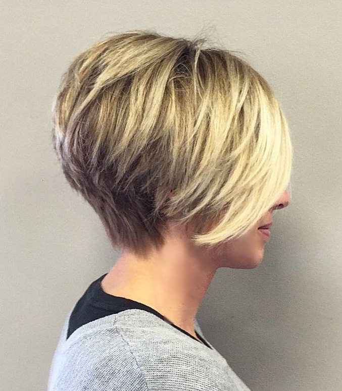 3: Layered Bob Haircut For Fine Hair Long Hair Full Of Body And With Regard To High Shine Sleek Silver Pixie Bob Haircuts (View 7 of 25)