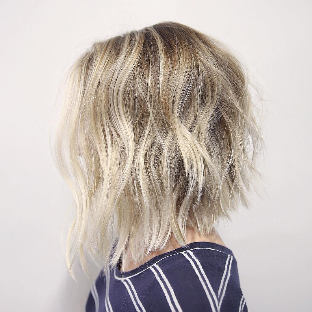30 Cute Messy Bob Hairstyle Ideas 2018 (Short Bob, Mod & Lob Throughout White Blonde Curly Layered Bob Hairstyles (View 8 of 25)