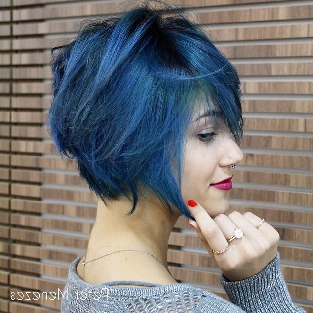 30 Cute Messy Bob Hairstyle Ideas 2018 (Short Bob, Mod & Lob With Blue Balayage For Black Choppy Bob Hairstyles (View 10 of 25)