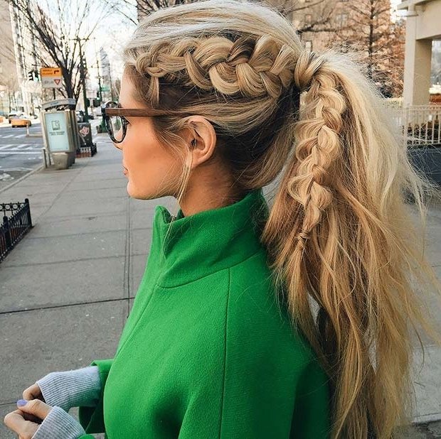 30 Cute Ponytail Hairstyles You Need To Try | Stayglam Pertaining To Twin Braid Updo Ponytail Hairstyles (View 18 of 25)
