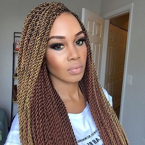 30 Protective High Shine Senegalese Twist Styles Pertaining To Blonde Braided And Twisted Ponytails (View 9 of 25)