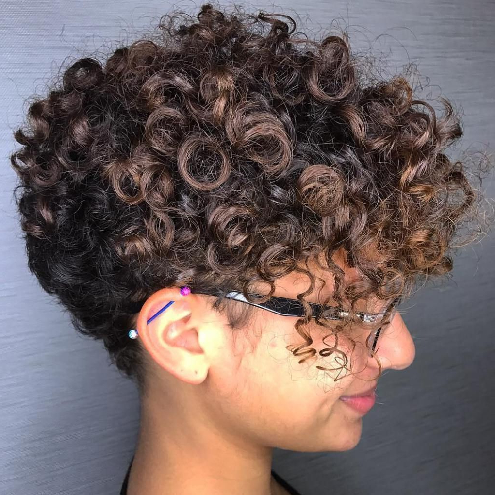 30 Standout Curly And Wavy Pixie Cuts In 2018 | Hair Cuts Within Tapered Brown Pixie Hairstyles With Ginger Curls (View 3 of 25)