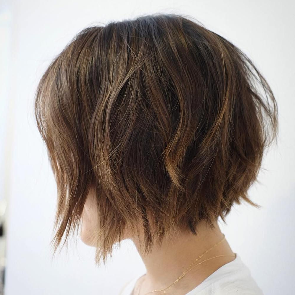 30 Trendiest Shaggy Bob Haircuts Of The Season In 2018 | Hair With Regard To Edgy Brunette Bob Hairstyles With Glossy Waves (View 3 of 25)