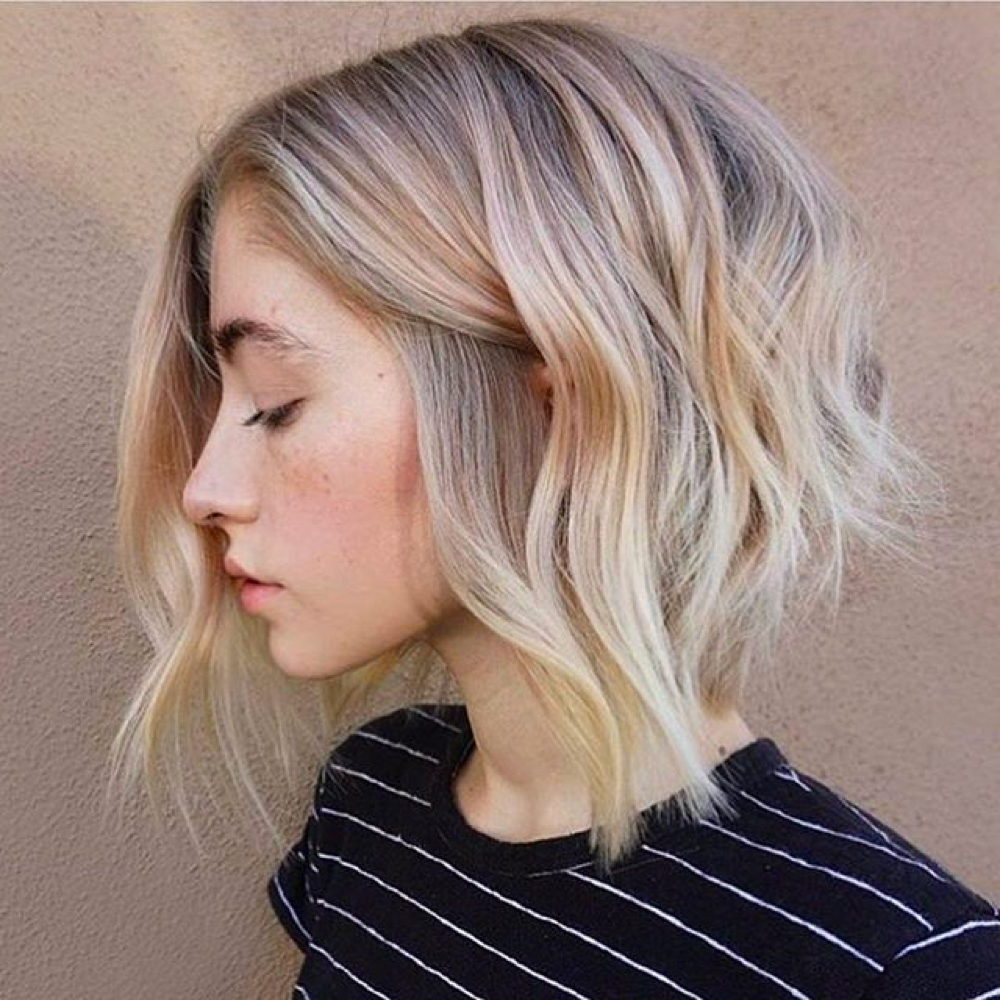 33 Hottest A Line Bob Haircuts You'll Want To Try In 2018 Throughout Angelic Blonde Balayage Bob Hairstyles With Curls (View 7 of 25)
