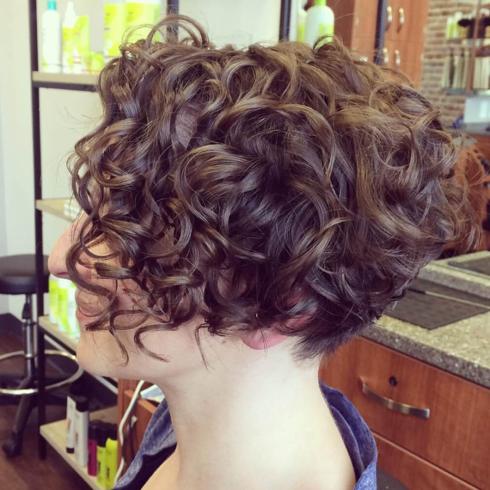 33 Hottest Short Curly Hairstyles Trending In 2018 With Angled Brunette Bob Hairstyles With Messy Curls (View 7 of 25)