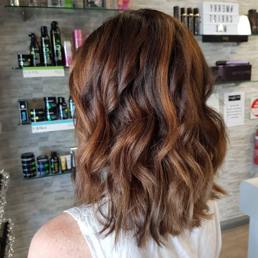 34 Sweetest Caramel Highlights On Light To Dark Brown Hair (2018) In Curly Dark Brown Bob Hairstyles With Partial Balayage (View 12 of 25)