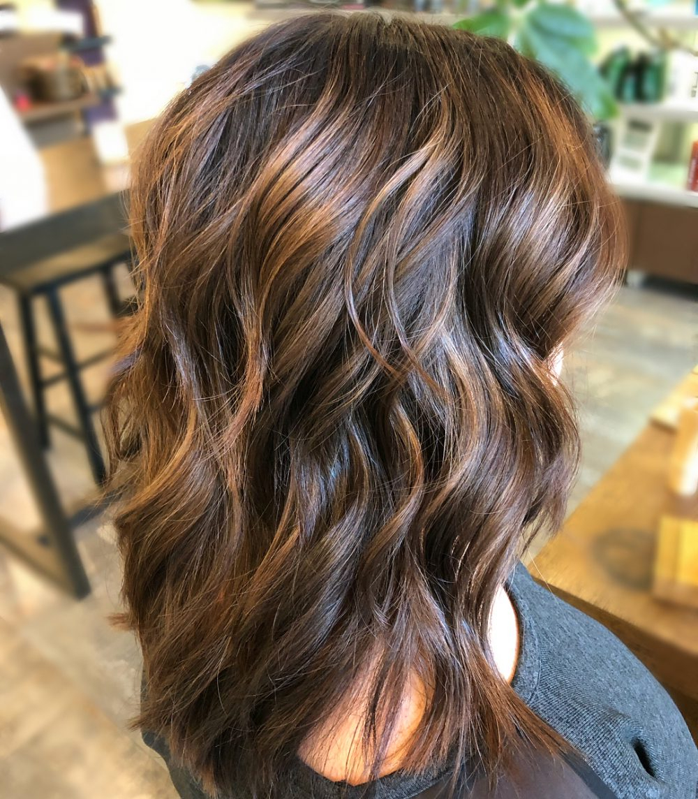 34 Sweetest Caramel Highlights On Light To Dark Brown Hair (2018) Regarding Curly Dark Brown Bob Hairstyles With Partial Balayage (View 15 of 25)
