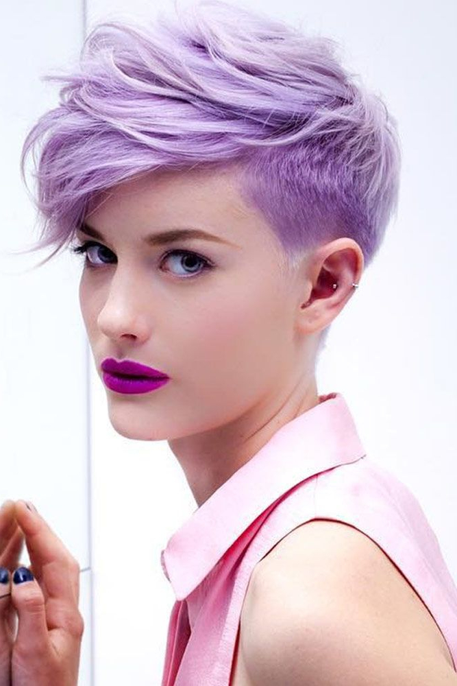 35+ Short Pixie Haircuts That Give An Edgy But Feminine Vibe | Back With Regard To Edgy Purple Tinted Pixie Haircuts (View 17 of 25)