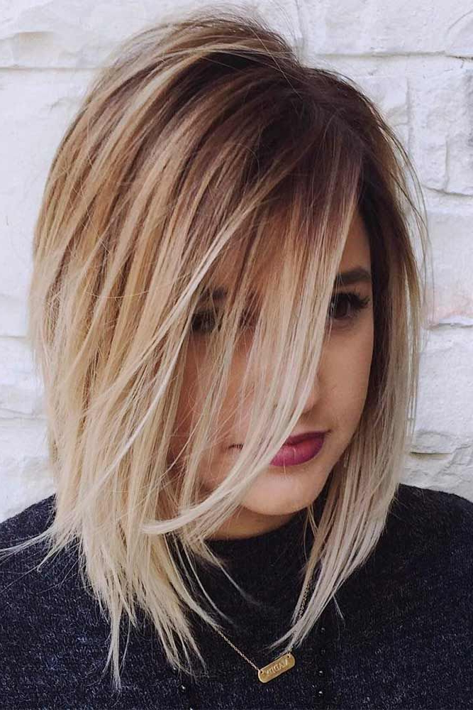 36 Chic Medium Length Layered Haircuts For A Trendy Look   Pelo Inside Silver Balayage Bob Haircuts With Swoopy Layers (View 16 of 25)
