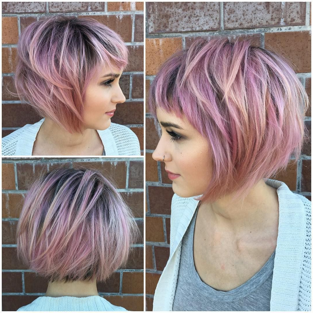 40 Best Short Hairstyles For Fine Hair 2018: Short Haircuts For Regarding Pink Short Haircuts (View 6 of 25)
