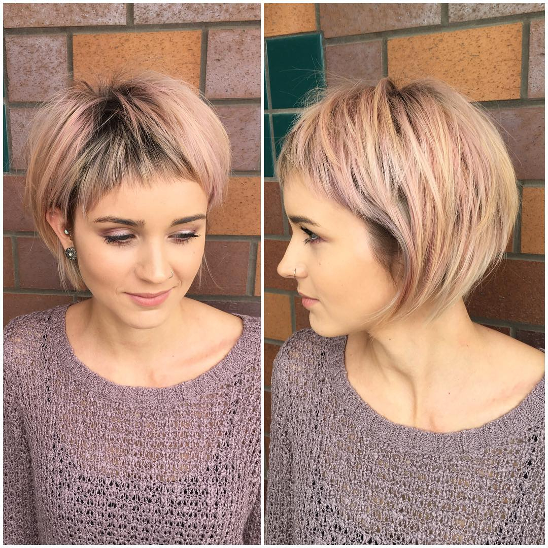 40 Best Short Hairstyles For Fine Hair 2019 Within Layered Short Hairstyles With Bangs (View 11 of 25)