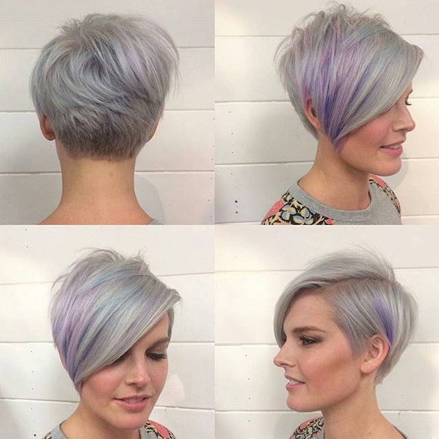 40 Hottest Short Hairstyles, Short Haircuts 2018 – Bobs, Pixie, Cool Inside Edgy Purple Tinted Pixie Haircuts (View 18 of 25)