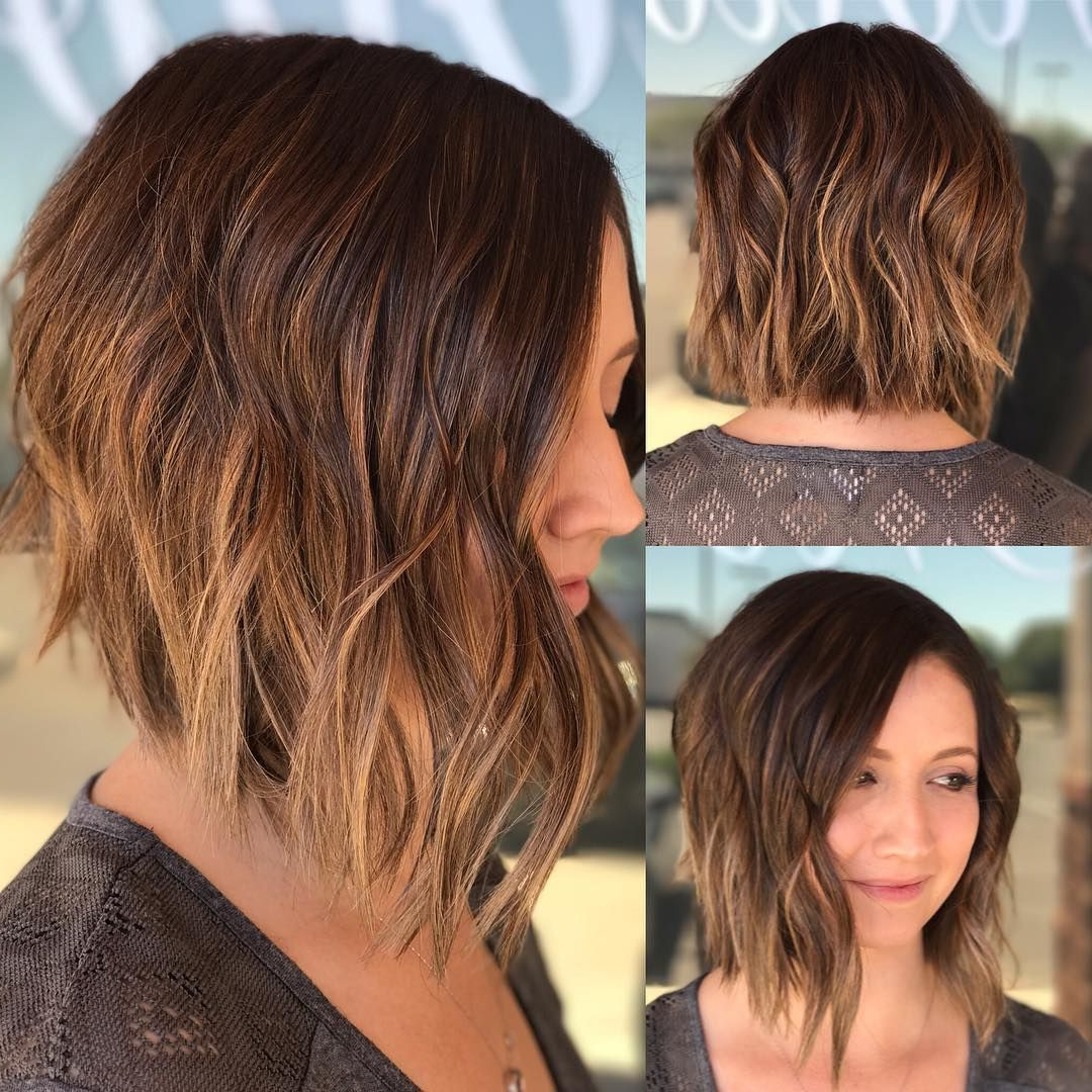 40 Most Flattering Bob Hairstyles For Round Faces 2019 – Hairstyles Throughout Angled Brunette Bob Hairstyles With Messy Curls (View 13 of 25)