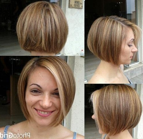 40 Short Bob Hairstyles: Layered, Stacked, Wavy And Angled Bob Cuts In Sleek Rounded Inverted Bob Hairstyles (View 9 of 25)