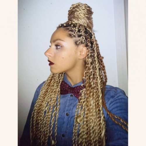 40 Twist Hairstyles For Natural Hair 2017 | Herinterest/ Pertaining To Blonde Braided And Twisted Ponytails (View 8 of 25)