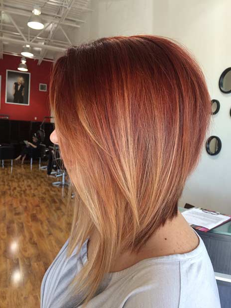 41 Best Inverted Bob Hairstyles | Stayglam Throughout Stacked Copper Balayage Bob Hairstyles (View 6 of 25)