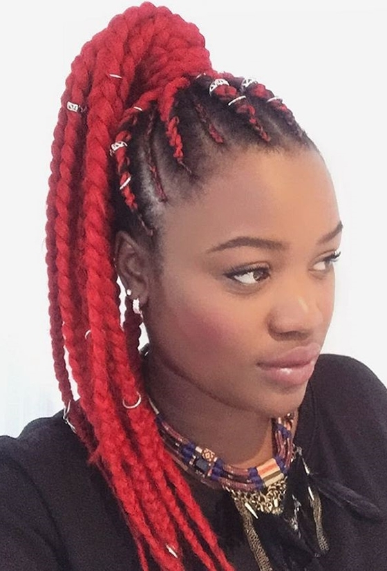 41 Cute And Chic Cornrow Braids Hairstyles Pertaining To Trendy Two Tone Braided Ponytails (View 17 of 25)