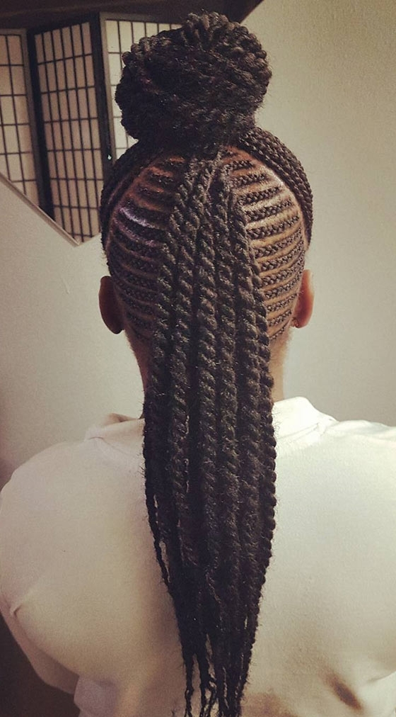 41 Cute And Chic Cornrow Braids Hairstyles Within Diagonally Braided Ponytail Hairstyles (View 20 of 25)