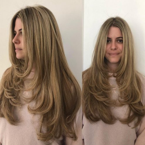 43 Cutest Long Layered Haircuts Trending In 2018 Inside Long Feathered Espresso Brown Pixie Hairstyles (View 22 of 25)