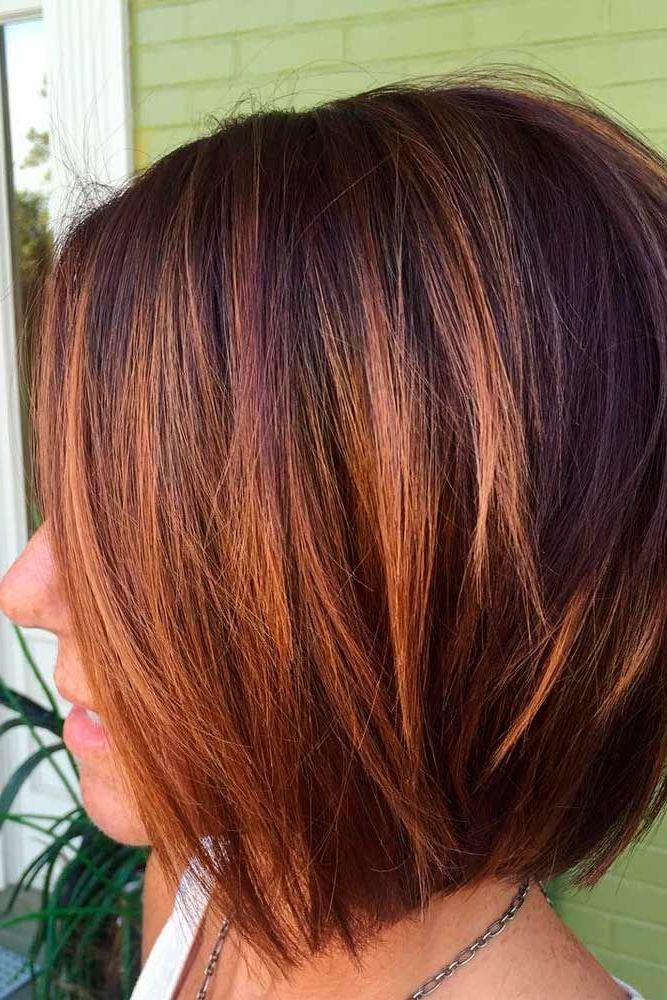 Featured Photo of Stacked Copper Balayage Bob Hairstyles