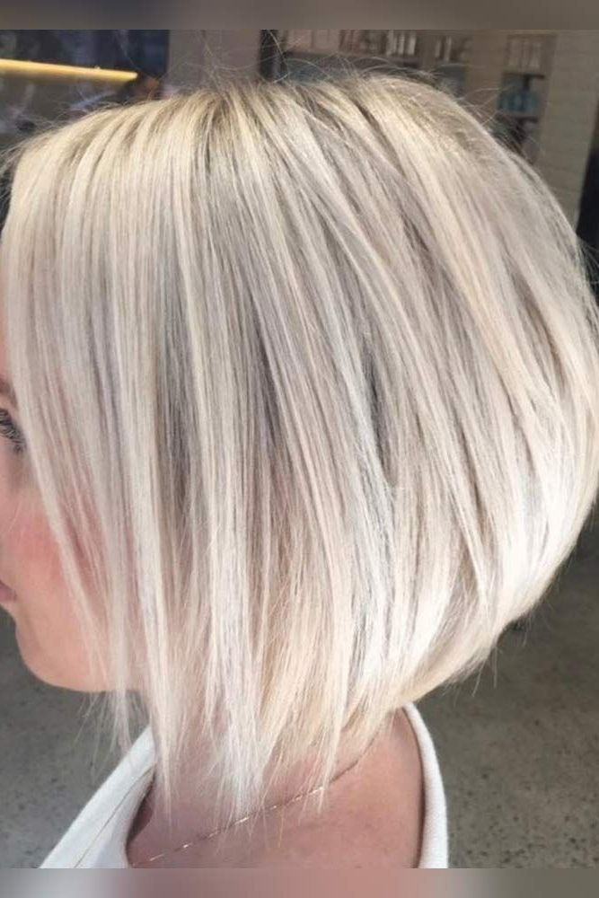 Featured Photo of Stacked Sleek White Blonde Bob Haircuts