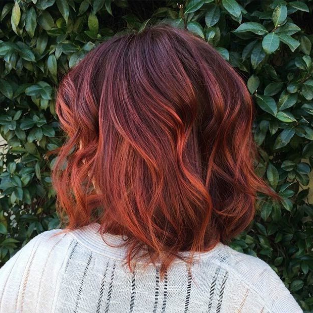 47 Hot Long Bob Haircuts And Hair Color Ideas | Stayglam Hairstyles For Burgundy And Tangerine Piecey Bob Hairstyles (View 4 of 25)