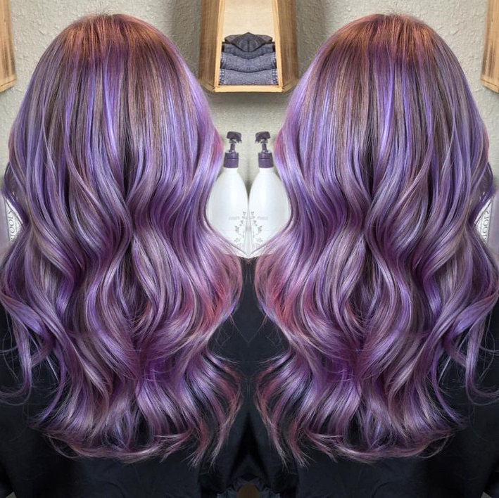 48 Irresistibly Beautiful Purple Hair Color Styles | Hairstylo Pertaining To Choppy Brown And Lavender Bob Hairstyles (View 22 of 25)