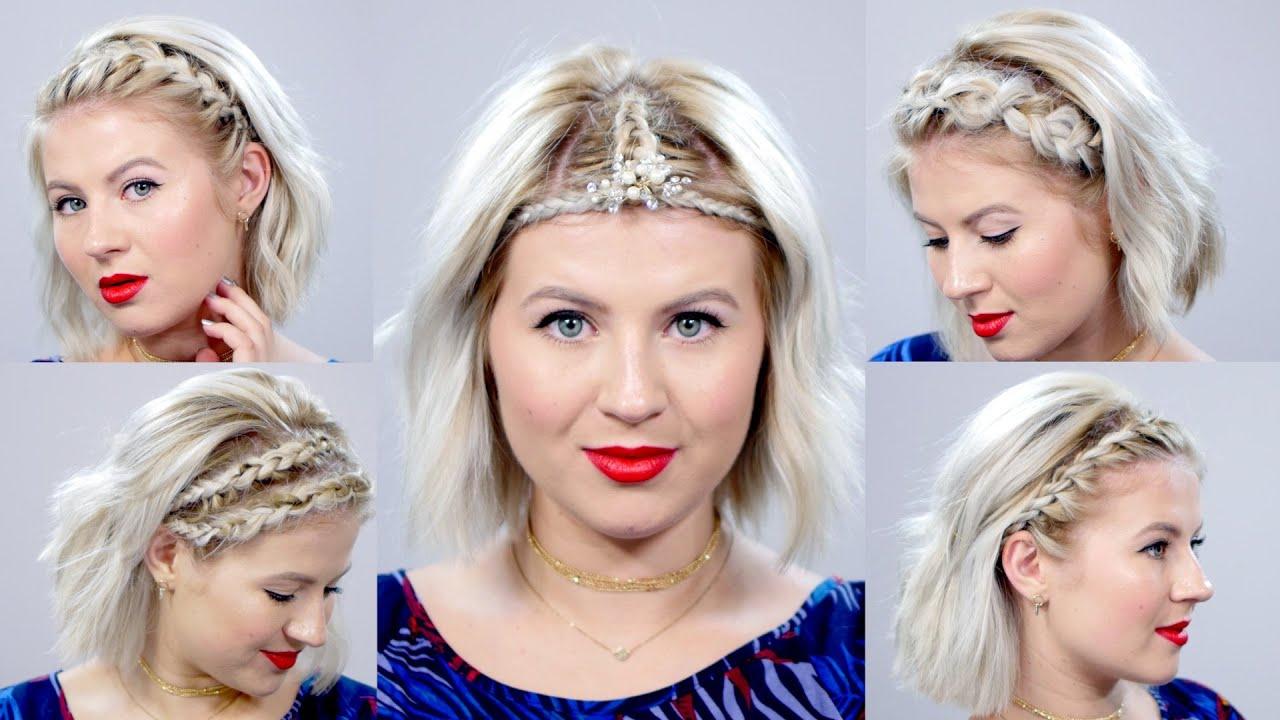 5 Braided Headbands For Short Hair Tutorial | Milabu – Youtube For Short Hairstyles With Headbands (View 8 of 25)
