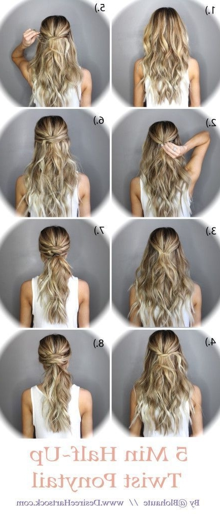 5 Minute Half Up Ponytail Twist | Hair | Pinterest | Hair, Hair Intended For Twisted And Pinned Blonde Ponytails (View 16 of 25)
