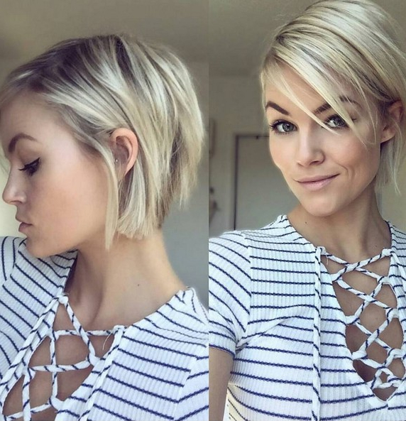 50 Chic Everyday Short Hairstyles For Women 2018 – Pixie, Bobs,pageboy With Rounded Pixie Bob Haircuts With Blonde Balayage (View 17 of 25)