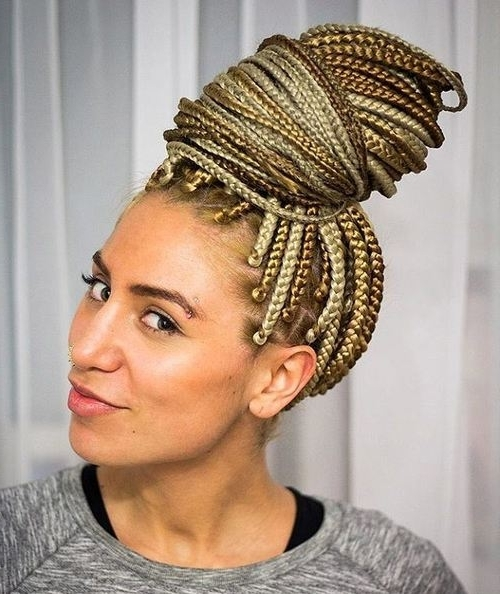50 Exquisite Box Braids Hairstyles That Really Impress Within Blonde Braided And Twisted Ponytails (View 21 of 25)