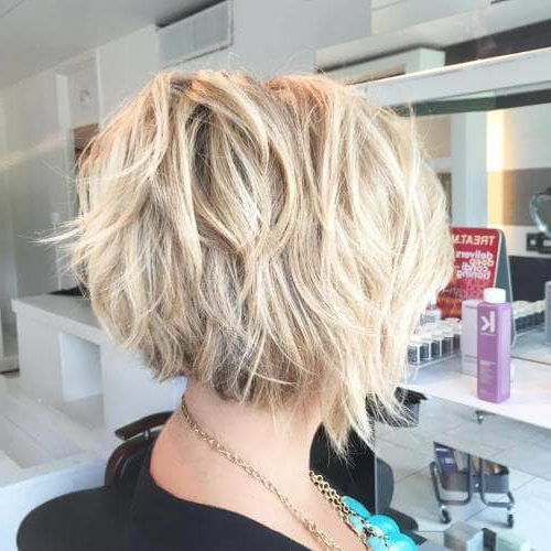 50 Fresh Short Blonde Hair Ideas To Update Your Style In 2018 In Messy Shaggy Inverted Bob Hairstyles With Subtle Highlights (View 19 of 25)