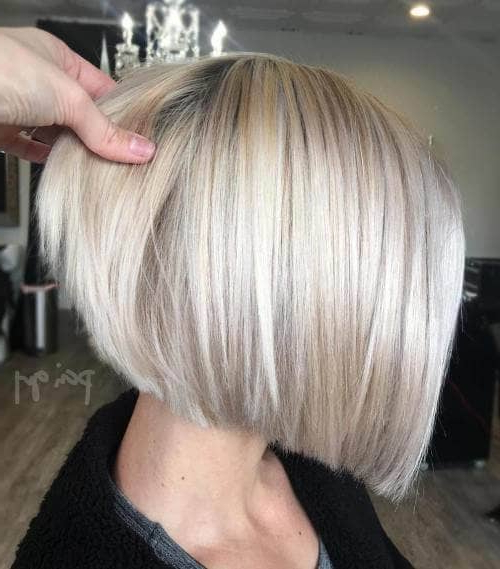 50 Fresh Short Blonde Hair Ideas To Update Your Style In 2018 In Stacked Sleek White Blonde Bob Haircuts (View 20 of 25)