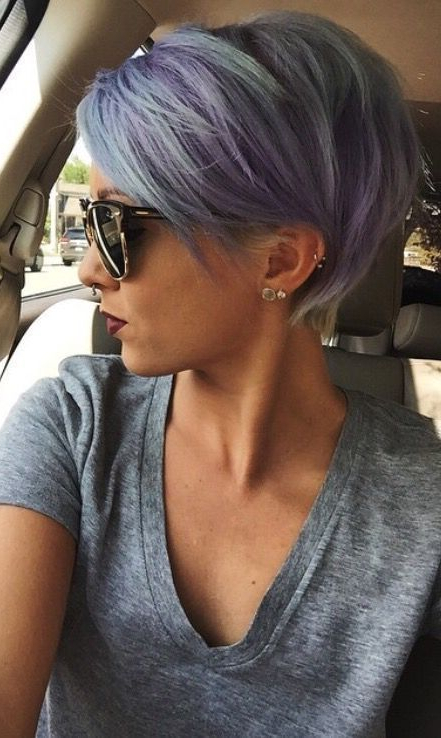 50 Hot Hairstyles For Women Over 50 | Gray Asymmetrical Hair In Sexy Pastel Pixie Hairstyles (View 4 of 25)