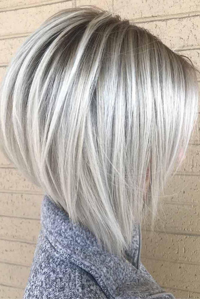50 Platinum Blonde Hair Shades And Highlights For 2018   Silver Within Silver Balayage Bob Haircuts With Swoopy Layers (View 22 of 25)
