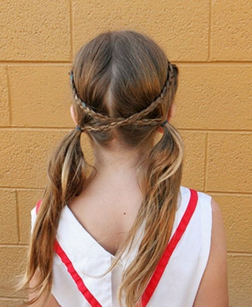 50 Quick And Easy Girls' Hairstyles   Crisscross Braid Pigtails Within Intricate And Messy Ponytail Hairstyles (View 16 of 25)