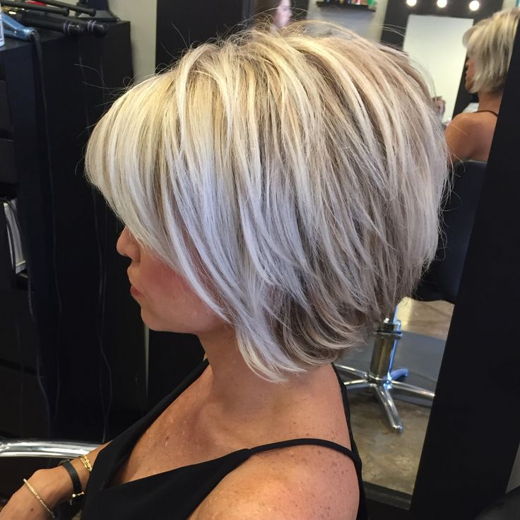50 Short Bob Hairstyles 2015 – 2016 In 2018 | { Hair, Makeup, Nails In Short Razored Blonde Bob Haircuts With Gray Highlights (View 13 of 25)