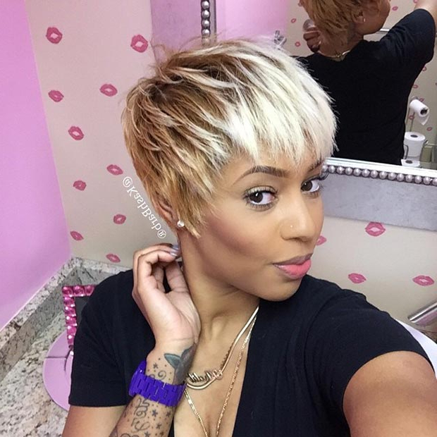 50 Short Hairstyles For Black Women | Stayglam Throughout Long Messy Ash Blonde Pixie Haircuts (View 20 of 25)