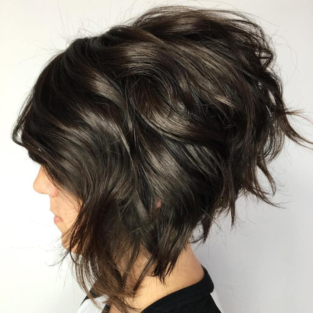 50 Trendy Inverted Bob Haircuts | Dark Brown, Bobs And Dark In Edgy Brunette Bob Hairstyles With Glossy Waves (View 18 of 25)
