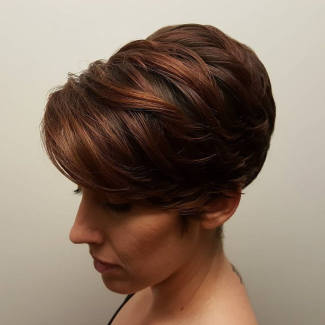 50 Trendy Short And Long Pixie Haircut Styles — Cutest Of All! Inside Long Feathered Espresso Brown Pixie Hairstyles (View 11 of 25)