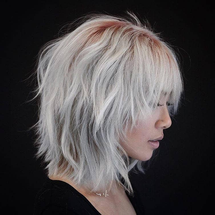 50 Ways To Wear Short Hair With Bangs For A Fresh New Look For Short Razored Blonde Bob Haircuts With Gray Highlights (View 25 of 25)