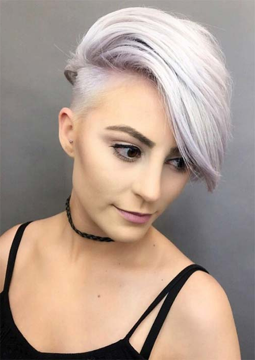 51 Edgy And Rad Short Undercut Hairstyles For Women – Glowsly Inside White Bob Undercut Hairstyles With Root Fade (View 4 of 25)