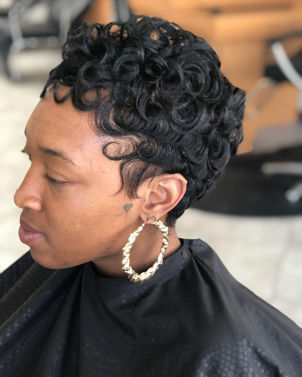 54 Easy Short Hairstyles For Black Women Regarding Soft Curly Tapered Pixie Hairstyles (View 11 of 25)