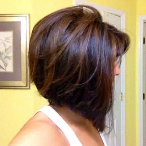 55 Cute Bob Hairstyles For 2017: Find Your Look Within Inverted Brunette Bob Hairstyles With Feathered Highlights (View 25 of 25)