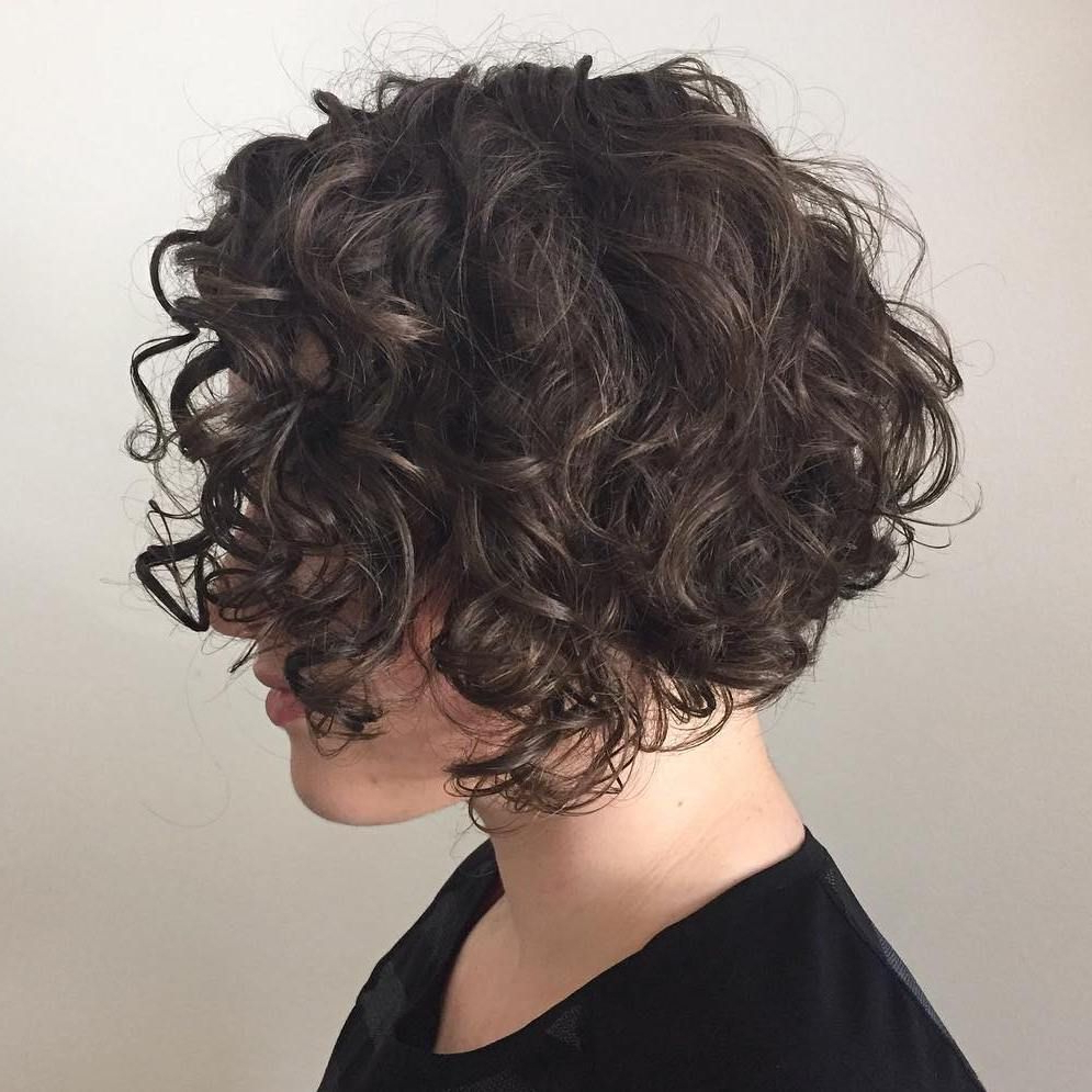 55 Different Versions Of Curly Bob Hairstyle   Hair   Pinterest Regarding Jaw Length Inverted Curly Brunette Bob Hairstyles (View 10 of 25)