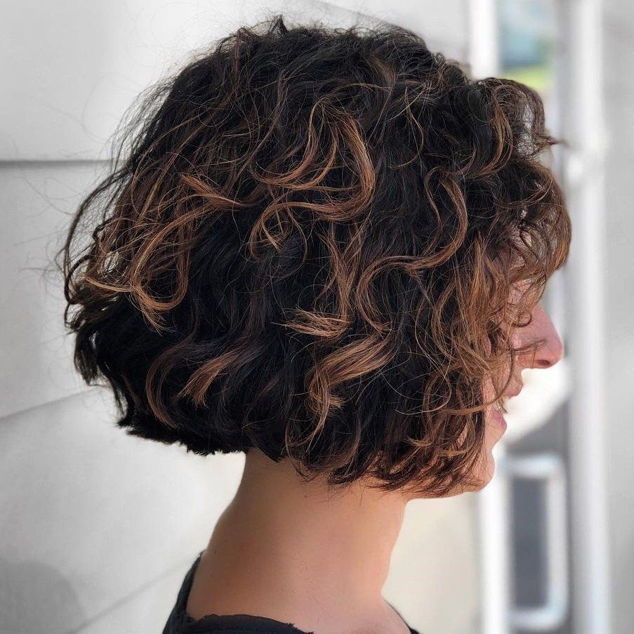 55 Different Versions Of Curly Bob Hairstyle In 2018   Hair Styles Within Jaw Length Inverted Curly Brunette Bob Hairstyles (View 11 of 25)