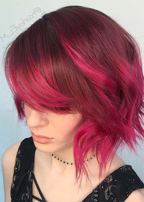 55 Incredible Short Bob Hairstyles & Haircuts With Bangs | Fashionisers Inside Stacked Copper Balayage Bob Hairstyles (View 12 of 25)