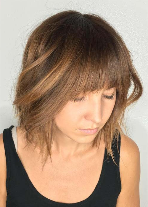 55 Incredible Short Bob Hairstyles & Haircuts With Bangs | Fashionisers Intended For Textured Bob Haircuts With Bangs (View 17 of 25)