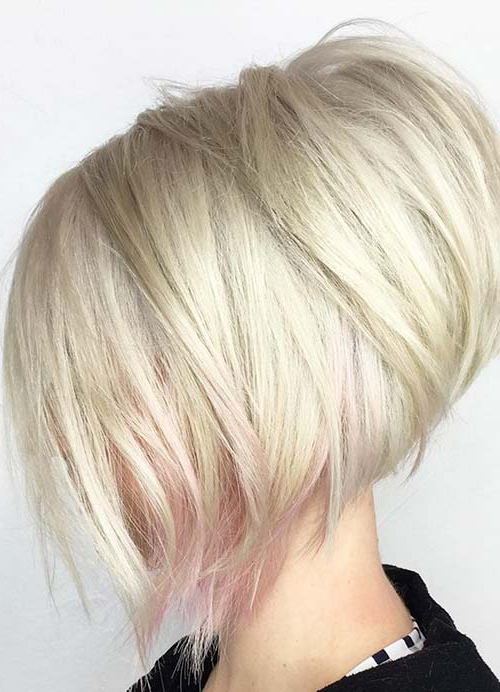 55 Short Hairstyles For Women With Thin Hair | Fashionisers For Stacked Sleek White Blonde Bob Haircuts (View 16 of 25)